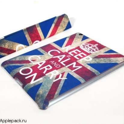 "Чехол для iPad 2/3/4 Smart Cover + Накладка ""Keep Calm and Carry On"" -"