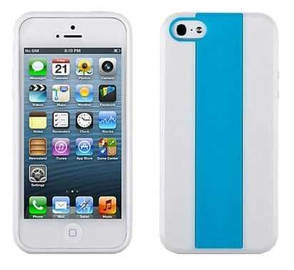 Белый чехол для iPhone 5/5s Momax Hybrid Blue Case -
