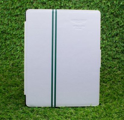 Кожаный чехол для iPad 2/3/4 Aston Martin Racing White/Green -