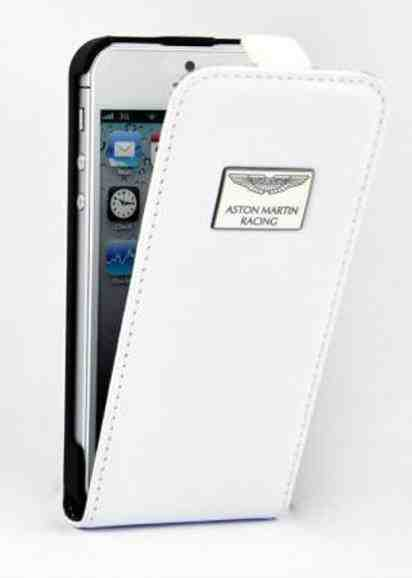Белый кожаный чехол для iPhone 5 Aston Martin Racing Leather Flip Case -