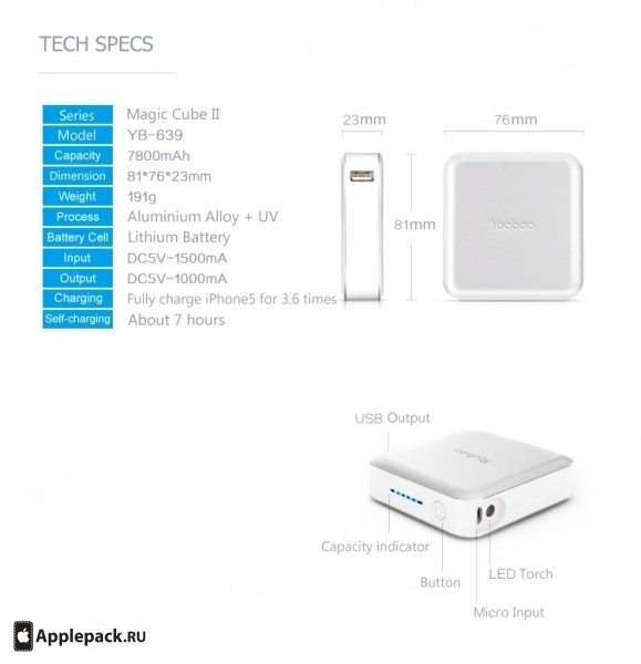 Аккумулятор Yoobao Magic Cube II YB-649 10400mAh White / Silver