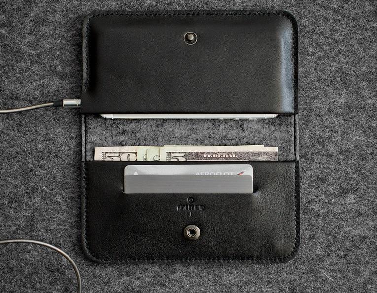 150b48b8971a Черный кожаный чехол-кошелек для iPhone 5/5S/SE Handwers Ranch ...
