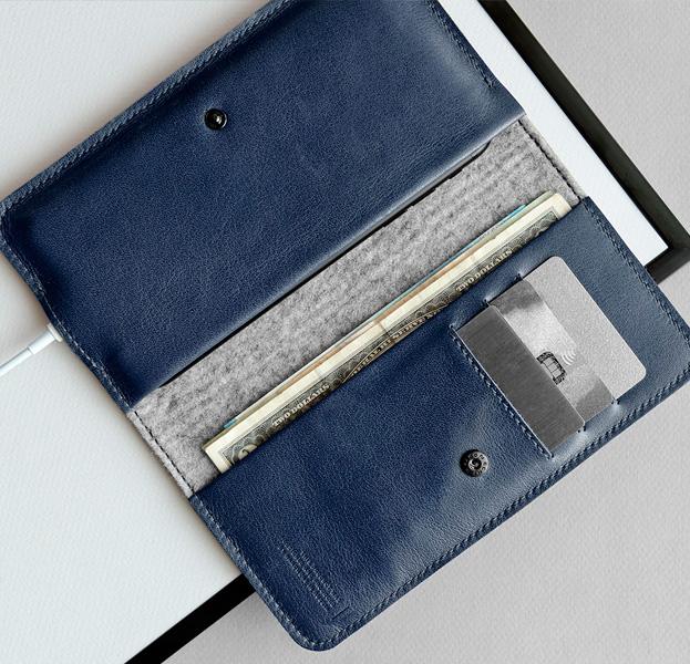 e2d9c1c053d5 Синий кожаный чехол кошелек для iPhone 5,5 Handwers Ranch 2017 ...