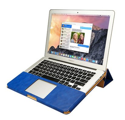 "Синий кожаный чехол для Macbook Pro 13"" Retina JisonCase Sleeve Pouch Shell -"