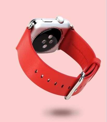 Кожаный ремешок для Apple Watch 38 mm Rock Genuine Leather Watchband Red -