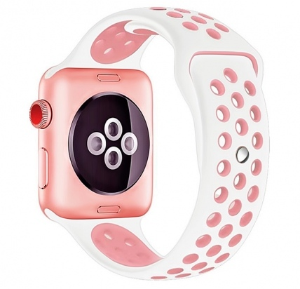 Ремешок Apple Watch 38/40 mm Perforated Sport Band White/Pink -