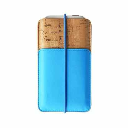 Кожаный чехол для iPhone 5/5S/SE Zenus E-Cork Pouch Blue -
