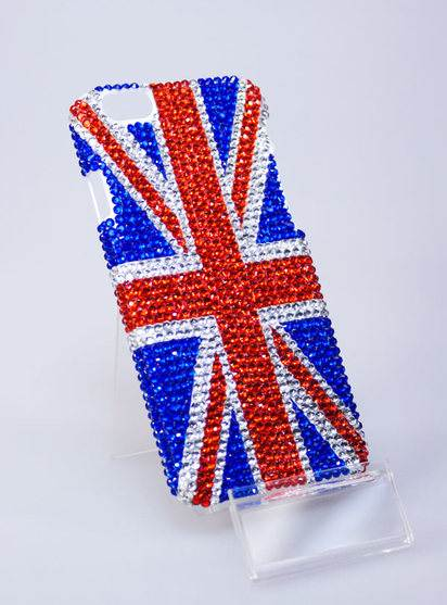 Чехол со стразами для iPhone 6 Blue Britain Case -