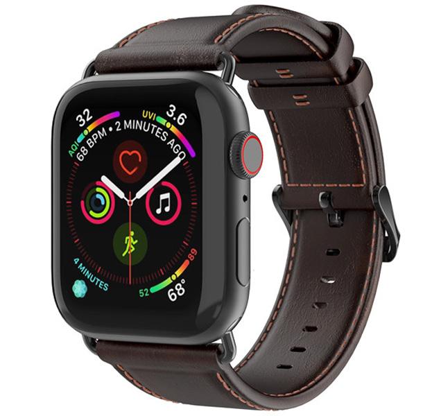 Купить Кофейный кожаный ремешок для Apple Watch 42/44 mm Dux Ducis Gadget Series, Натуральная кожа