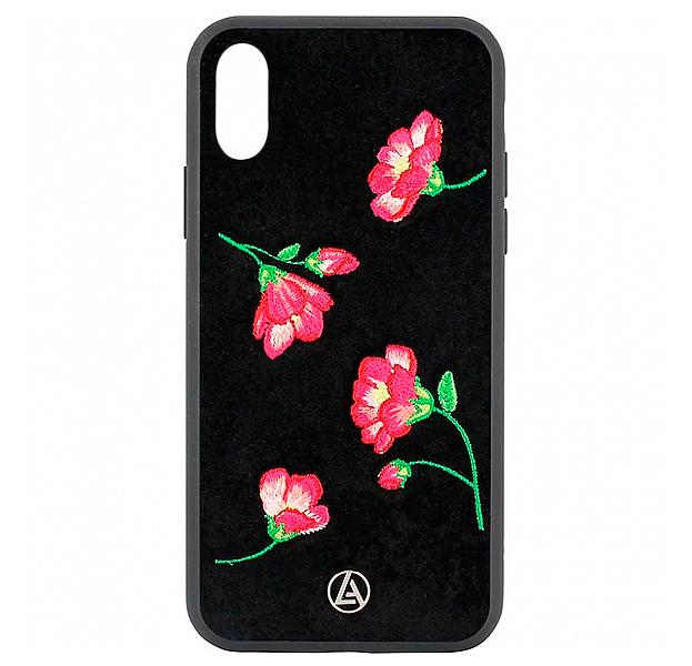 Купить Черный чехол-накладка для iPhone X/XS Luna Aristo Denise Collection, С рисунком, Текстиль