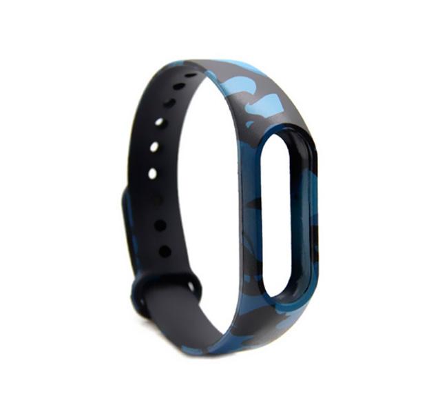 Купить Цветной ремешок для браслета Xiaomi Mi Band 2 (Синий камуфляж), Силикон
