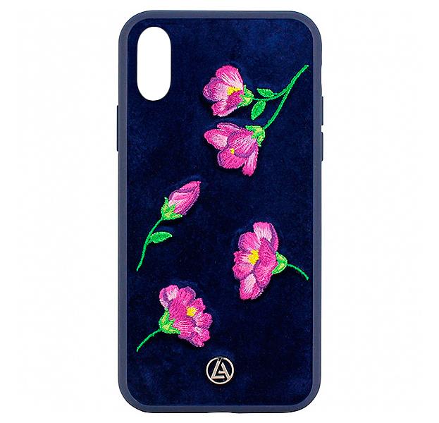 Купить Синий чехол-накладка для iPhone X/XS Luna Aristo Denise Collection, С рисунком, Текстиль