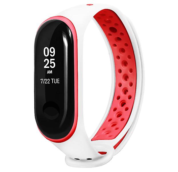 Купить Ремешок для браслета Xiaomi Mi Band 3 Sport Perforated White/Red, Силикон