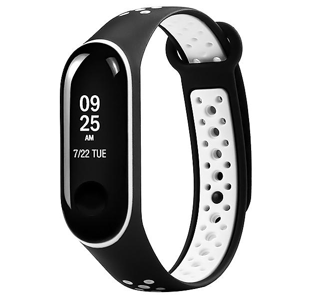 Купить Ремешок для браслета Xiaomi Mi Band 3 Sport Perforated Black/White, Силикон