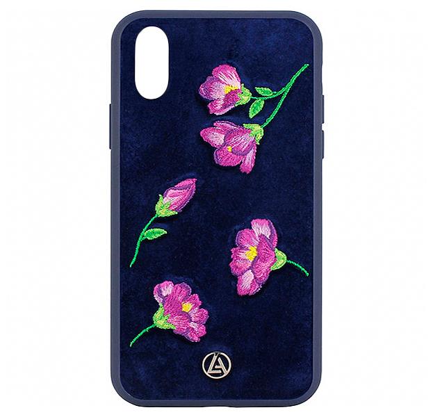 Купить Синий чехол-накладка для iPhone XS Max Luna Aristo Denise Collection, С рисунком, Текстиль