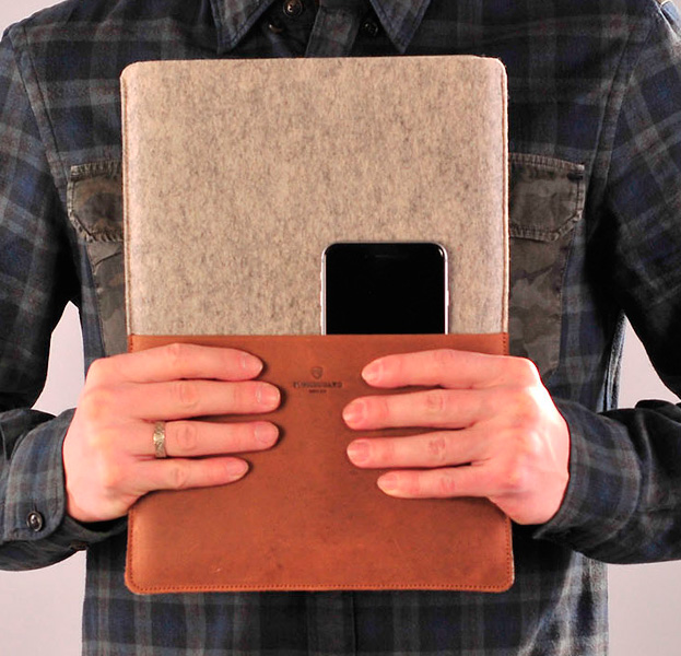 Купить Кожаный чехол для Macbook Air 13 Stoneguard Rust/Ash, Коричневый